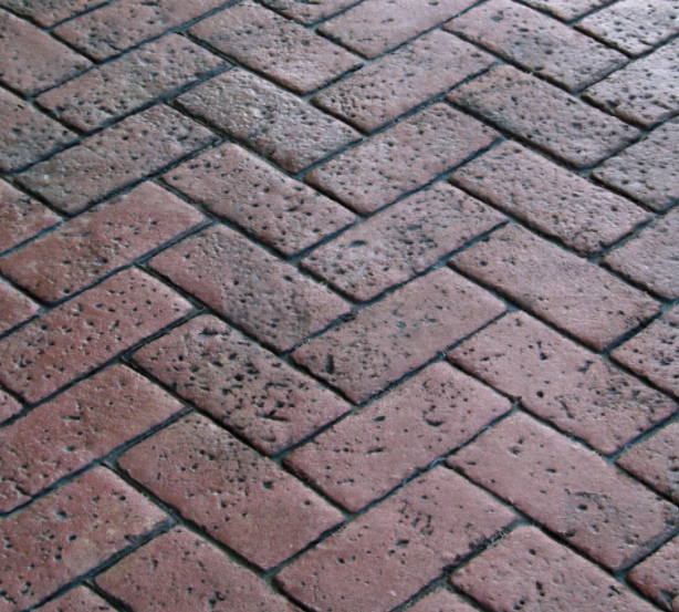 Red brick design of stamped concrete.