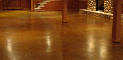 Man Cave in East Lansing, Michigan with decorative concrete floors.