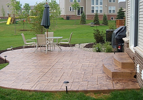 Picture of stamped concrete patio taken at a residential home in Mason, Michigan.