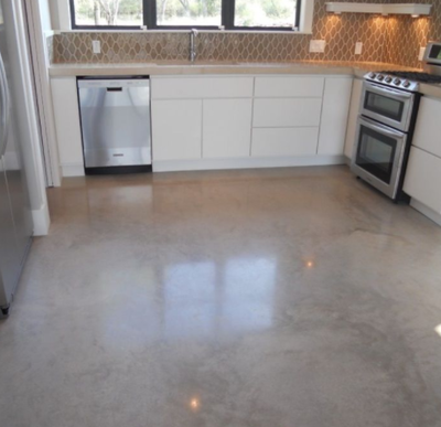 Polished concrete in a kitchen in Mason, Michigan.