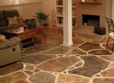 Basement stamped concrete floors with sealer.